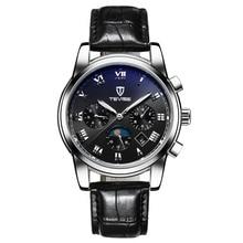 TEVISE люксовый бренд мужские автоматические механические наручные часы водонепроницаемый Moon phase Световой Швейцария Календарь Секунд диск