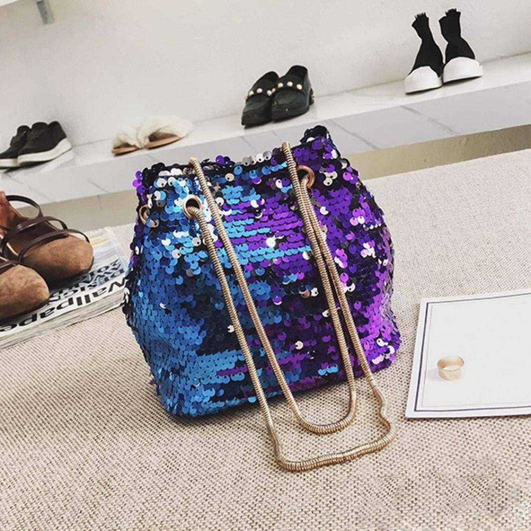 Women Sequins Bag Fashion Handbag Purse Glitter Shoulder Bag Evening Party Clutch for Girl(Blue) 3