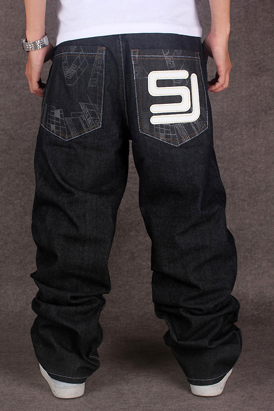 2017 Men's Black Baggy   Jeans   Hip Hop Designer Brand Skateboard Pants loose Style True HipHop Rap   Jeans   Boy
