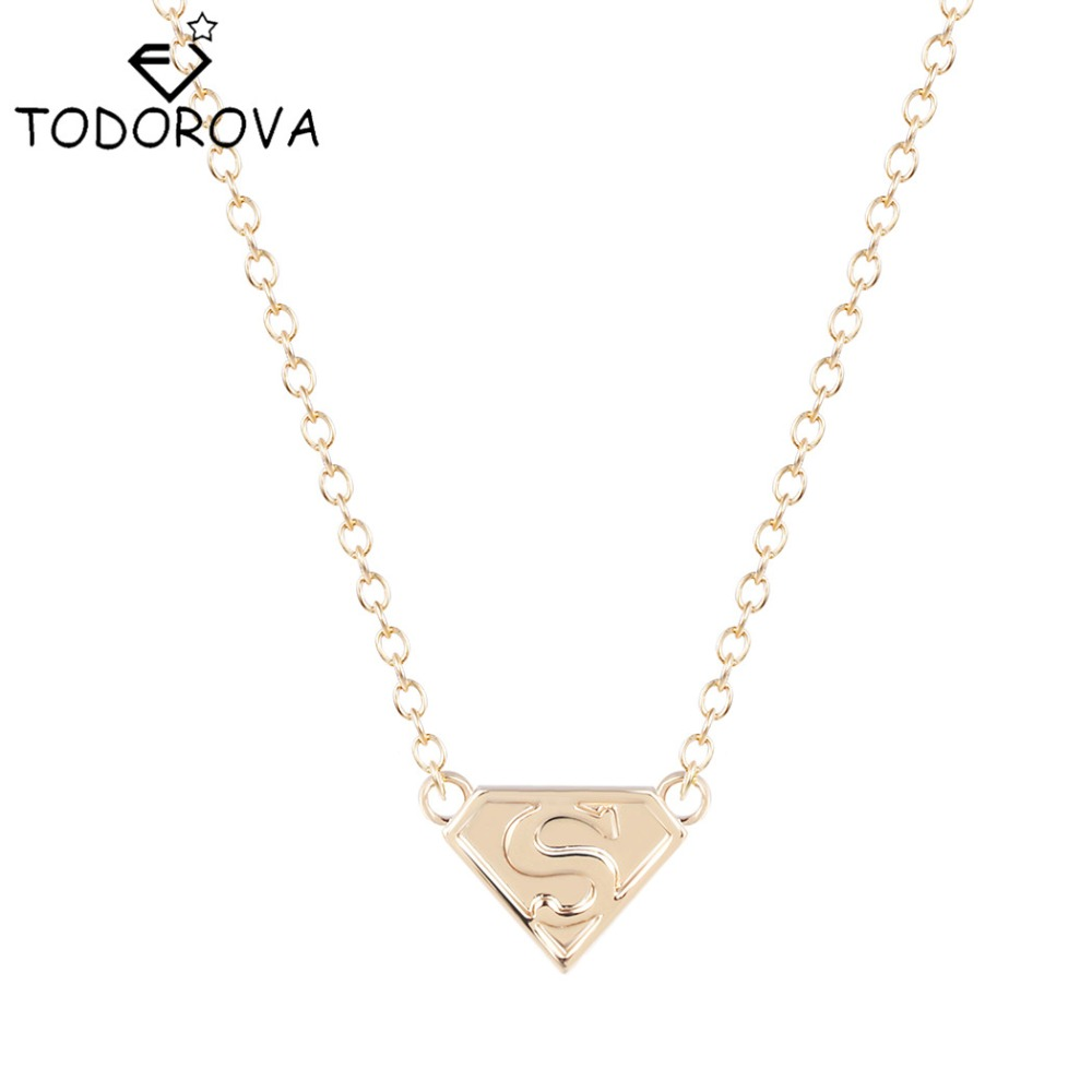 todorova superman cosplay silver gold letter s logo necklaces pendants statements long chain necklaces gift