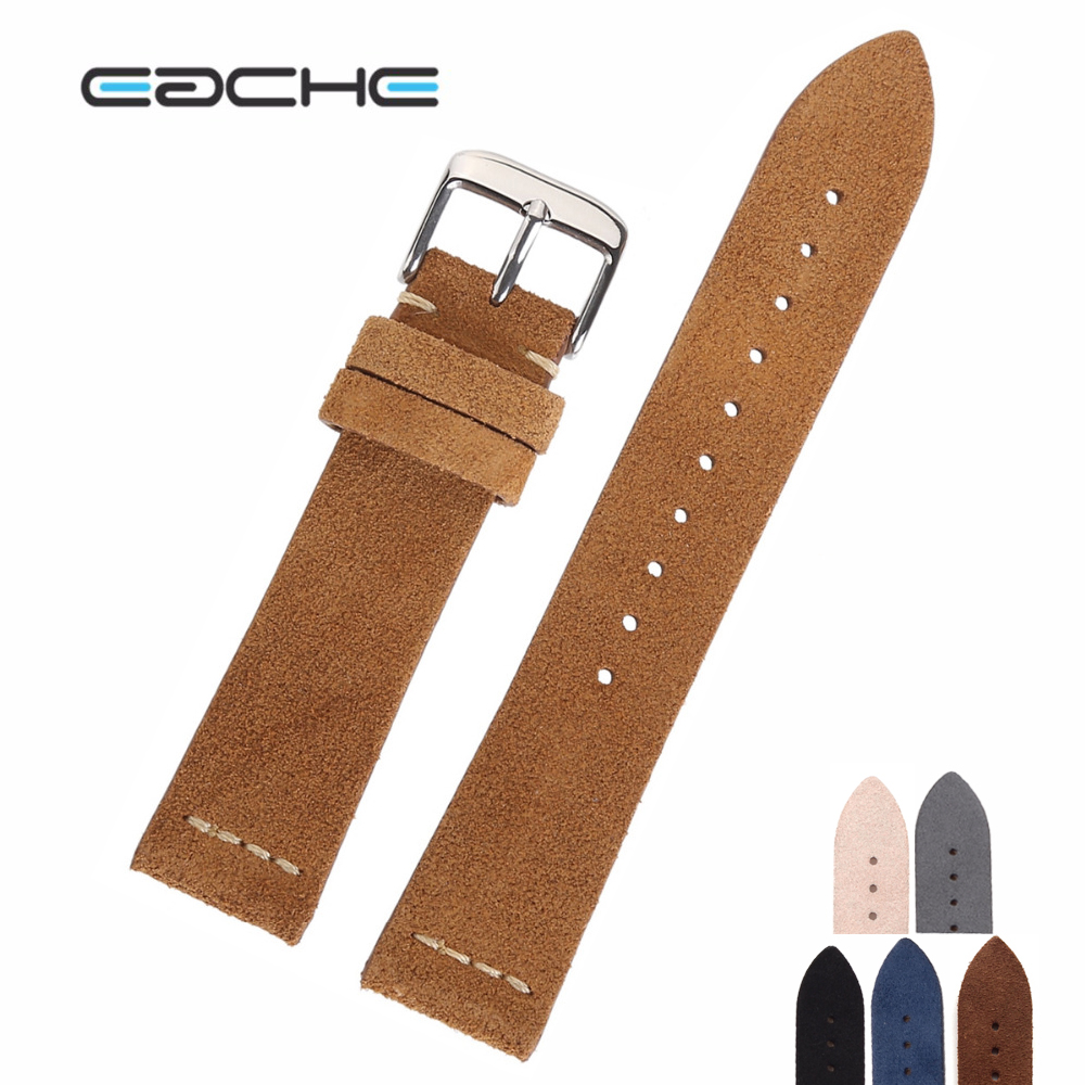 EACHE Suede Leather Watchband Hot Sell Beige Light Brown Dark Brown Beige Green Black Grey Watch Straps 18mm 20mm  22mm