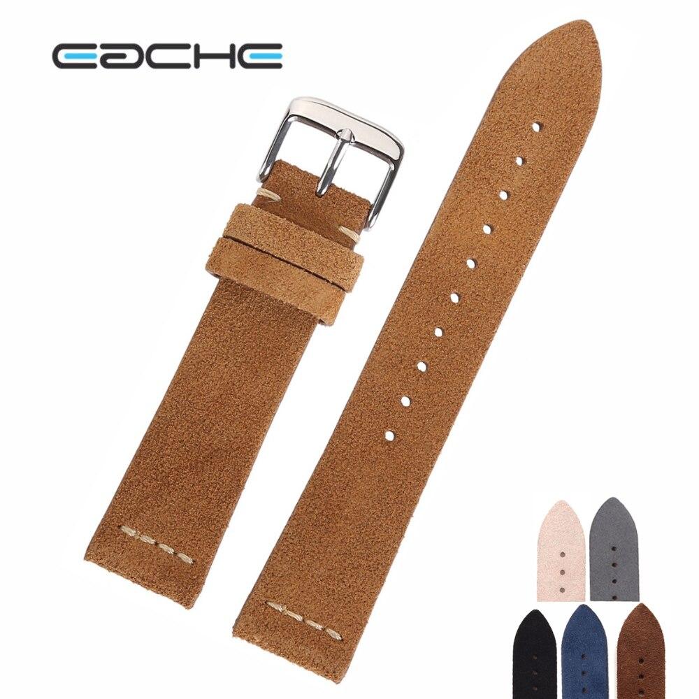 EACHE Suede cuero reloj Band Venta caliente Beige marrón claro marrón oscuro Beige Verde Negro gris correas 18mm 20mm 22mm