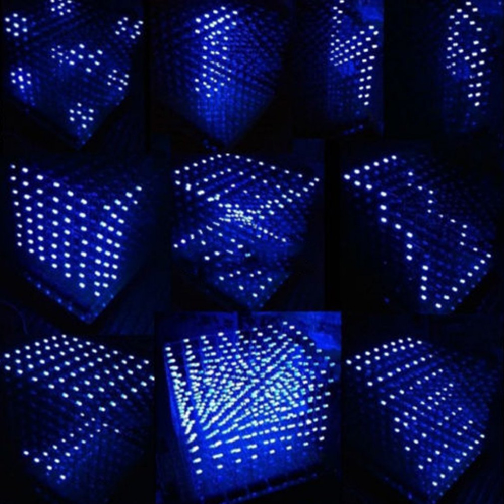 3d Led Cube 8x8x8 Light New Items PCB Board Novelty News Blue Squared DIY Kit 3mm Dropshipping Drop Ship