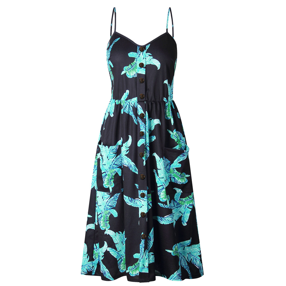 Modstreets Sexy Strap Backless Long Summer Dress Women 2018 Floral Print Bohemian Beach Midi Dress with Pockets Plus Size S-3XL