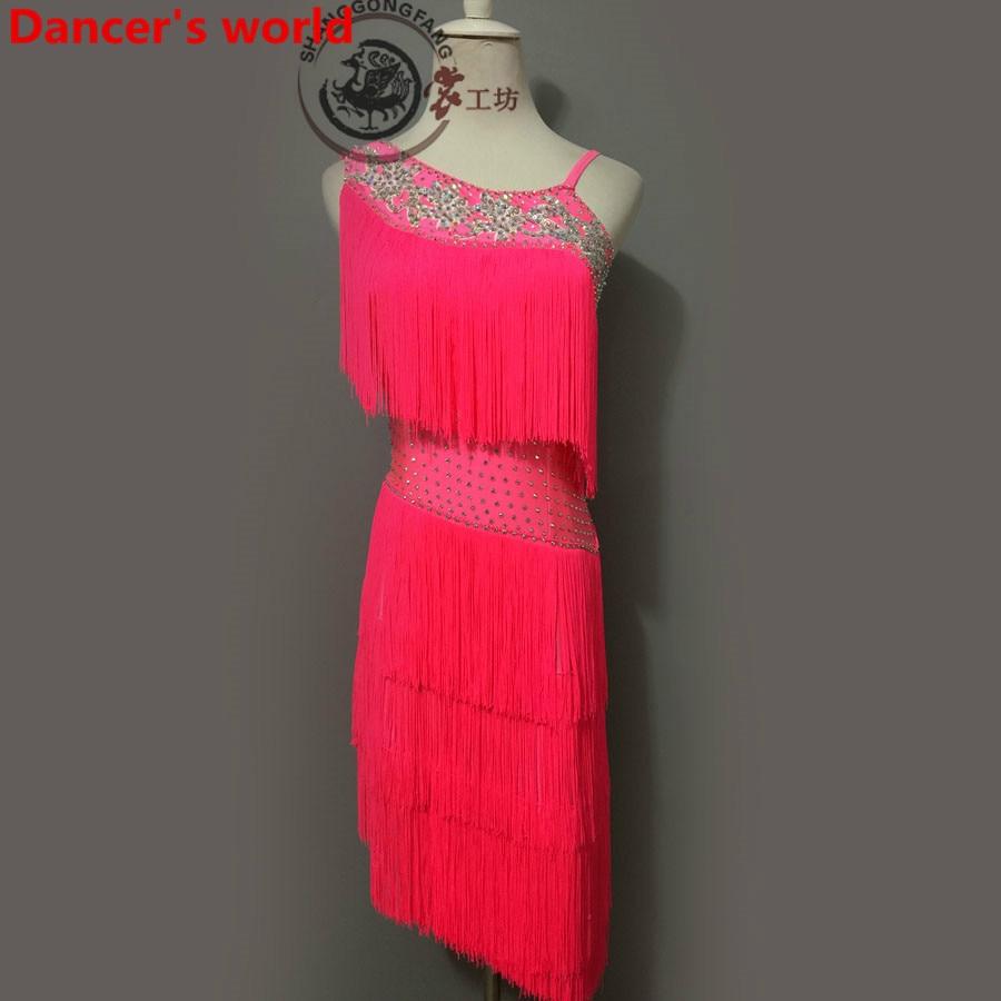 Latin Dance Dress Women Shoulder Back Opening Salsa Samba Tango Ballroom Competition Costume Lady Practise/Competition Dance