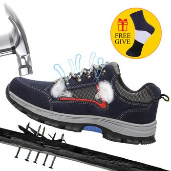 Męskie buty robocze BHP męskie trampki na świeżym powietrzu ze stali Toe buty męskie wojskowe kostki buty Anti-smashing buty bezpieczeństwa pracy tanie i dobre opinie ODBL Pracy i bezpieczeństwa Płótno ANKLE GEOMETRIC Dla dorosłych Okrągły nosek Lato Niska (1 cm-3 cm) Lace-up Pasuje prawda na wymiar weź swój normalny rozmiar