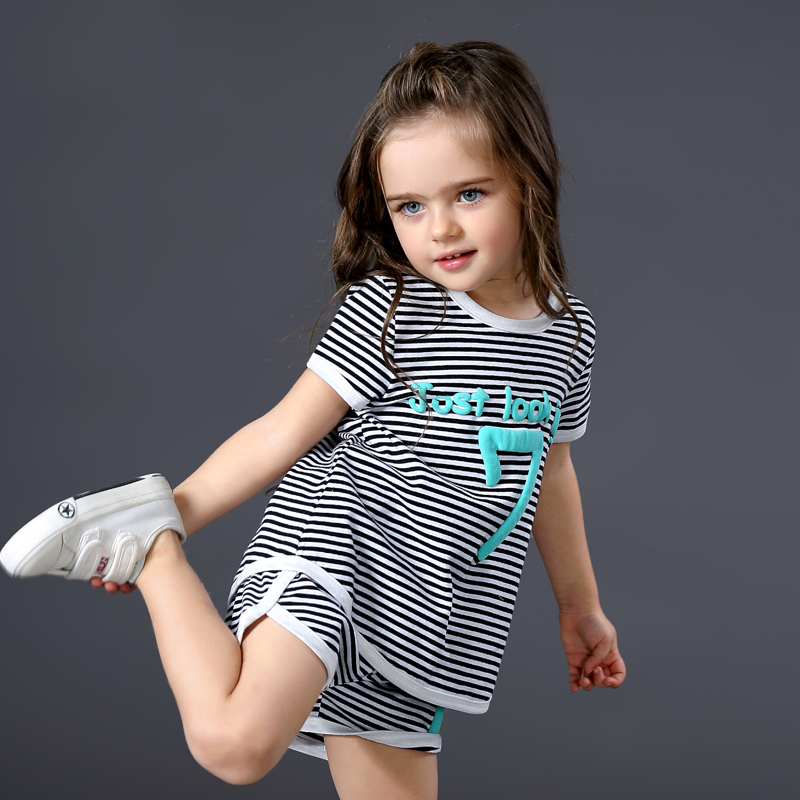 Brand Fashion 2017 Summer Baby Girl Clothing Sets Kids Girls Sports Costume Striped Shorts + Letters Tops Clothes Set Suit  new cotton toddler girls clothing sets kids clothes summer cartoon baby girl t shirt overalls suit costume with suspender shorts