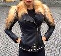 Arlene Sain 2016 slim  fox fur slim rivets leather clothing 3