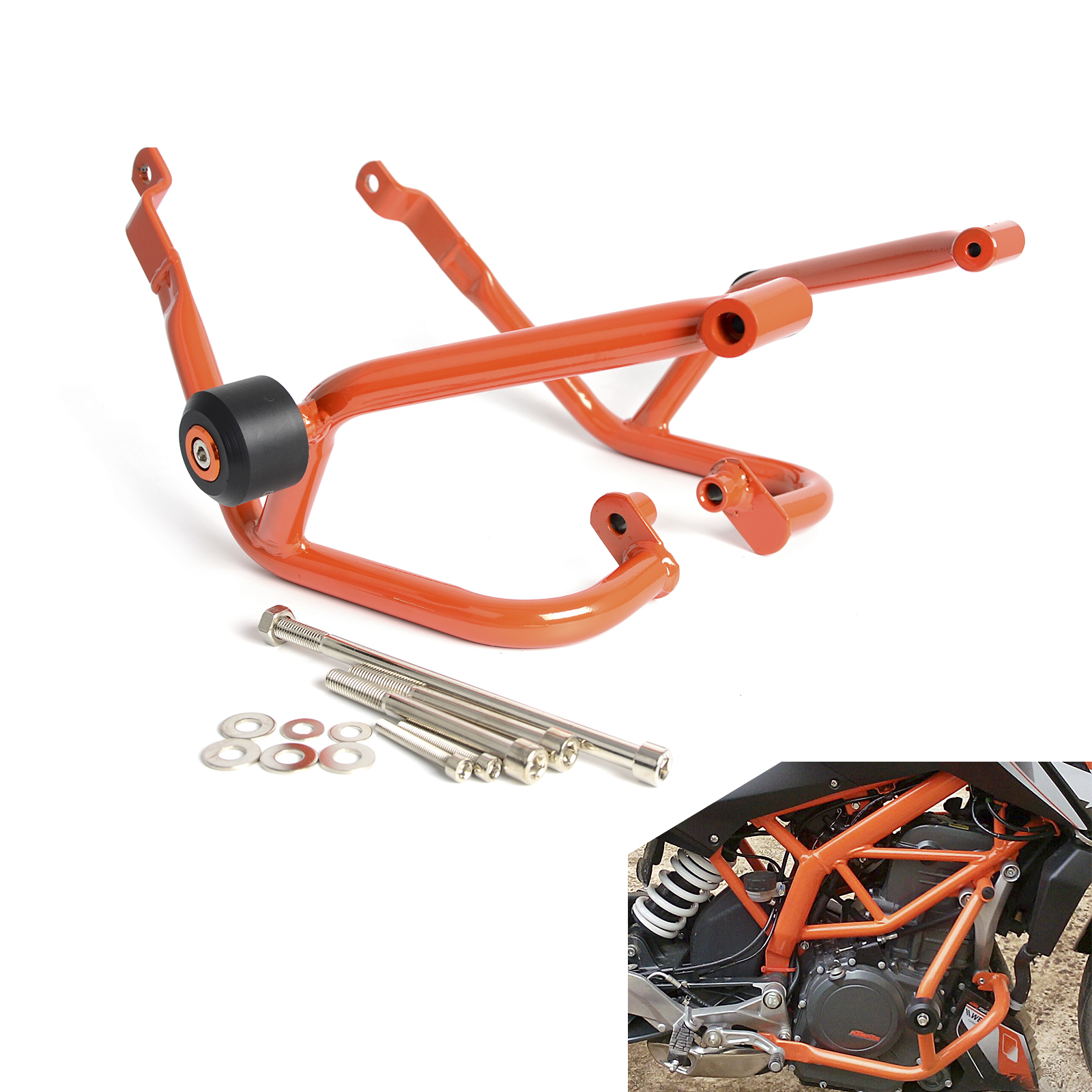 цена Motorcycle Engine Guard Crash Bars Frame Protector Bumper For KTM 125 200 Duke 2011 2012 2013 2014 2015 NEW
