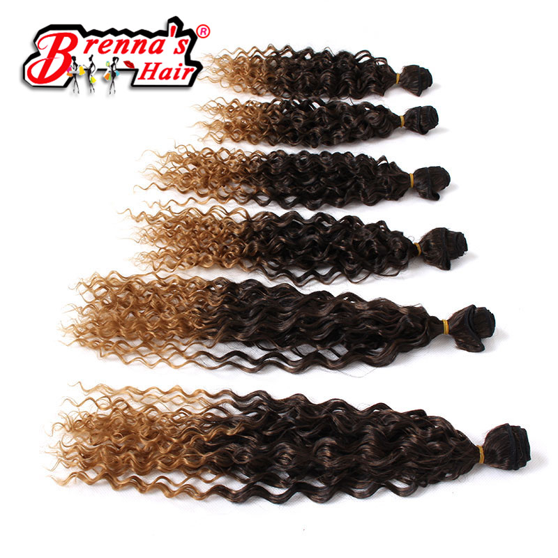 Eunice 14-18inch Ombre Hair Weave Loose Wave Synthetic Braiding Hair Sew in Hair Extensions 6pcs/pack One pack full head