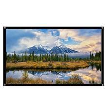 Портативный створки 60/72/84/100/120 дюймов ткань стене висит проекции Экран 4:3 для HD 3D светодиодный Проектор для домашнего кинотеатра Экран новейший микро-usb адаптер