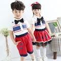 Estilo único irmão irmã correspondência camiseta roupas terno da menina bandeira americana vestuário duas peças atacadista china trajes unissex