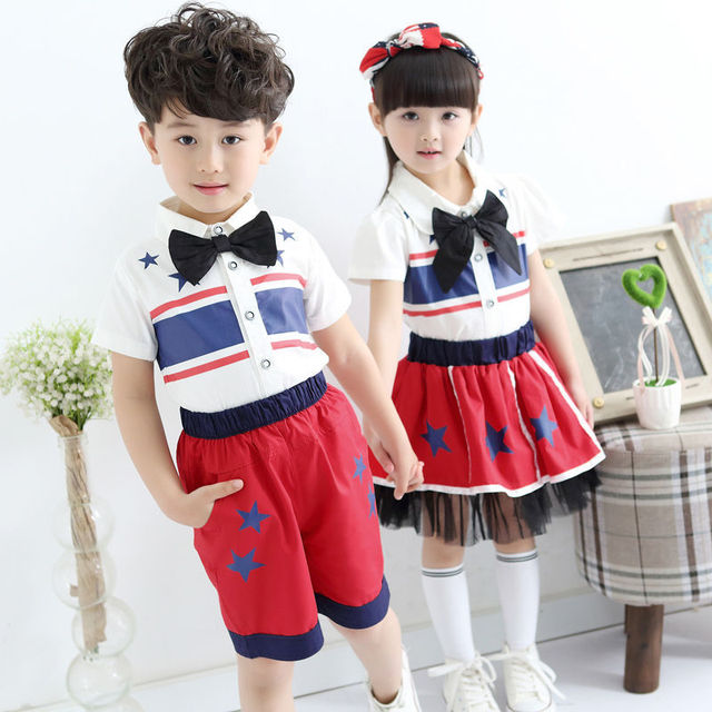 Estilo único hermano hermana ropa a juego camiseta de juego de la muchacha ropa de la bandera americana de dos piezas unisex disfraces mayorista china