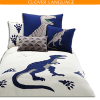 Dinosaur Animals Embroidered Bedding Set Flat Sheet Duvet Cover Pillow Cases Home Textile For Twin Full