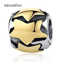 Authentieke 100% 925 Sterling Zilveren Bead Charm Draad Ronde Gouden Sterren Vintage Kralen Fit Pandora Armbanden & Bangles DIY Sieraden
