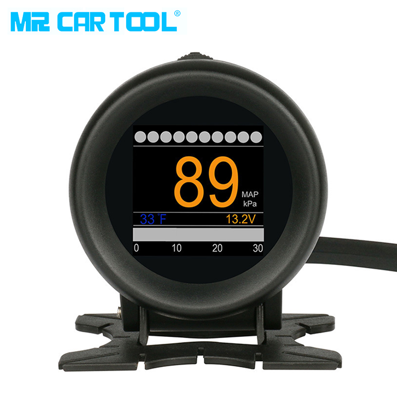 MR CARTOOL M3 Auto OBD HUD OBD2 Digitale Turbo Boost Druck Meter Auto Speed Öl Wasser Temp Gauge 12 v OBDII Code Reader Display