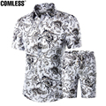 Two Piece Shorts Men Sets Shirts+Shorts Summer 2016 New Fashion Short Sleeve Slim Shirt Ten Printing Designs Mens Clothing M-5XL