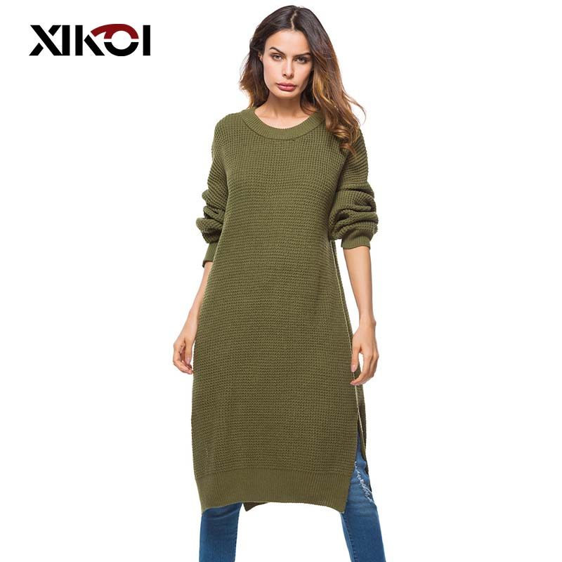 XIKOI Spring Fashion Women's Clothing Long Loose Sweaters Dresses Large Size Soft Elastic Pullovers Dress Ladies Knitted Sweater