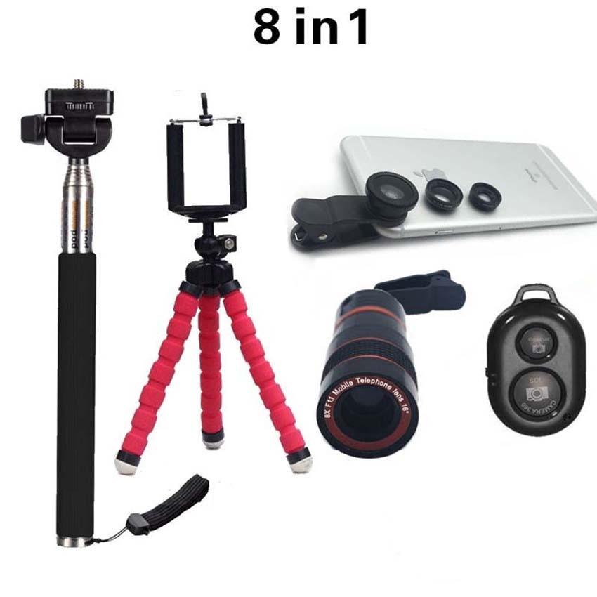 bilder für 8in1 Objektiv 8x Teleobjektiv fischauge Weitwinkel Fischaugen-objektiv Makro-objektiv Selfie Stick Mit Stativ Für iPhone 6 Samsung Xiaomi