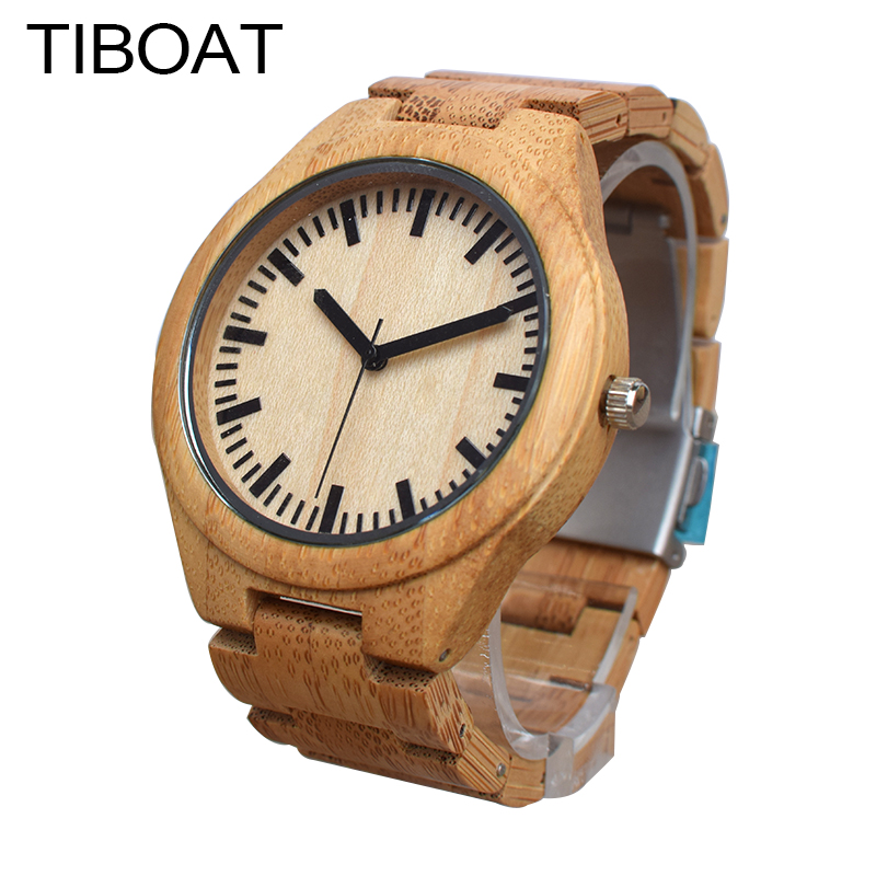 TIBOAT Creative Men Watch Natural Bamboo Wood Watches Men's Simple Quartz Wrist Watches Male Sports Elegant Reloj de madera classic style natural bamboo wood watches analog ladies womens quartz watch simple genuine leather relojes mujer marca de lujo