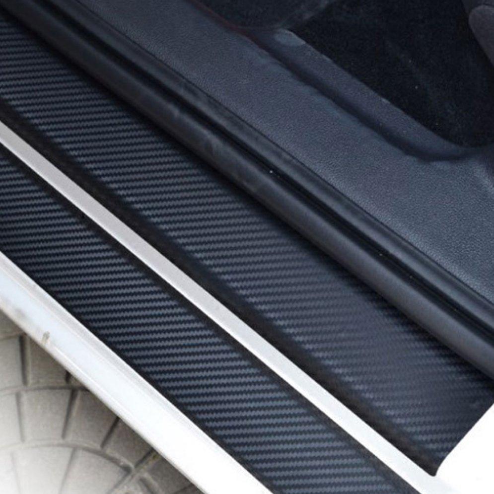 4pcs Universal Car Door Sill Sticker Carbon Fiber Scuff Cover Protector Anti-Scratch Auto Waterproof Sticker Car Decor