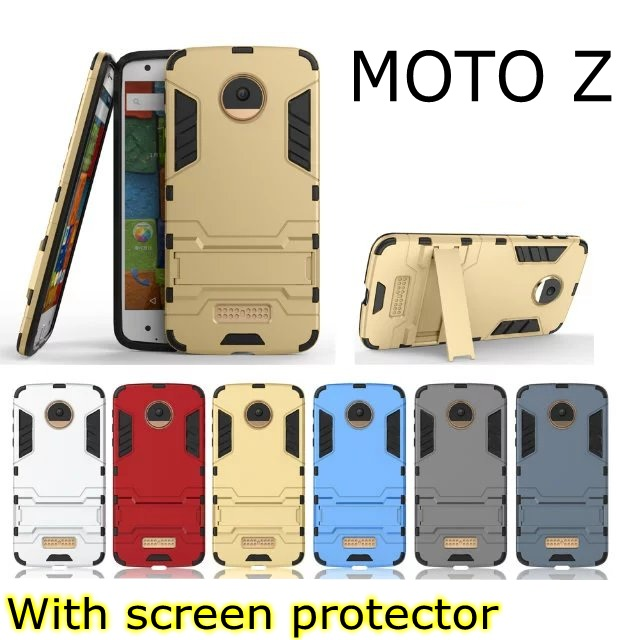 Fashion Armor 2 in 1 metal plating plastic hard Kickstand Combo case cover for Motorola Moto Z Style Droid X4 With stylus pen
