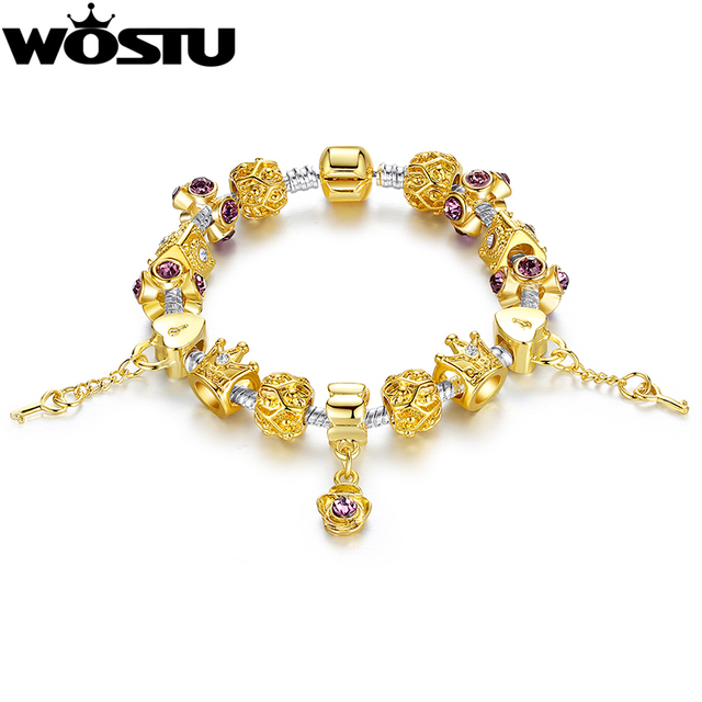 Wostu New Arrival Luxury Gold Color Charm Bracelet For Women Chain Beads Fashion Diy Jewelry Fit
