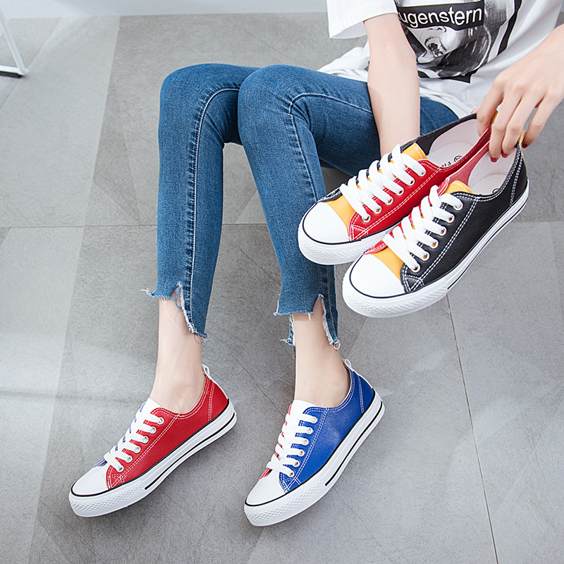 Brand Big Size 35-44 Women Vulcanized Shoes Sneakers Lace-up Female Casual Shoes Breathable Flat Walking Canvas Shoes for Women kaos jeans мини юбка