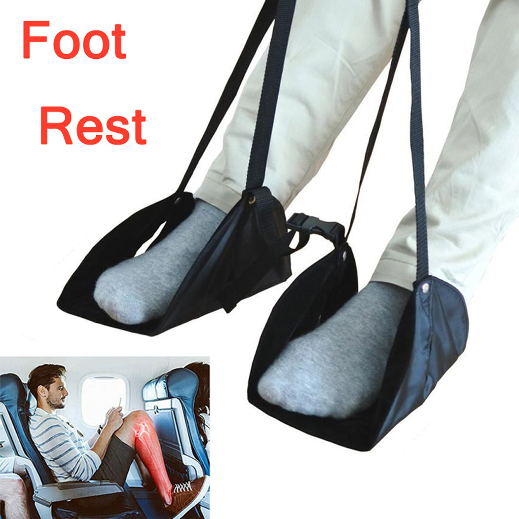 Airplane Footrest Hammock-Made Comfy-Hanger with Travel New Premium Memory-Foam-Foot