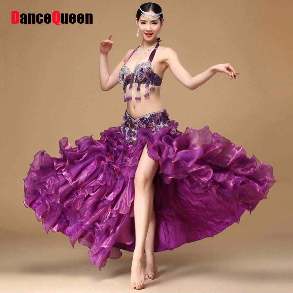 2017 Nouvelle Danse Du Ventre Costumes 2 pcs (Soutien-Gorge + Ceinture) 3 pcs (Soutien-Gorge + Ceinture + Jupe) Tassel & Fil Ruché Danza Danca Del Vientre Indien Sari Costume