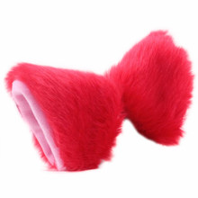 Cat Fox Long Fur Ears Anime Neko Costume Orecchiette Hair Clip Party Red + Pink(China)