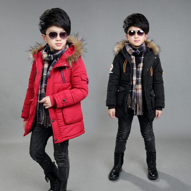 boys winter jacket 5-15 years old kids down coats Hooded fur collar thick  warm big pocket labeling stars chidlren s parka f390cef338