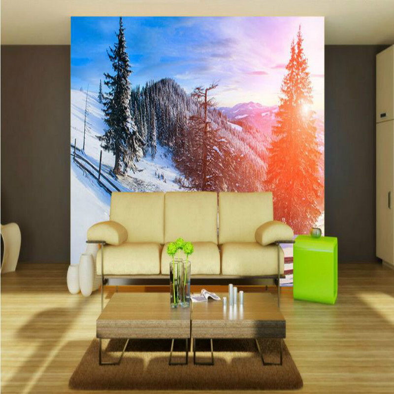 Snowy Sunset Background Wall Photo 3D Wallpaper for Walls 3d ...