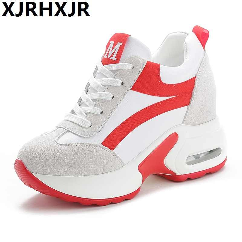 7bcb6e77 2019 Женская Осенняя повседневная обувь на платформе модные высокие каблуки  женские клиновидные кроссовки обувь 8 см