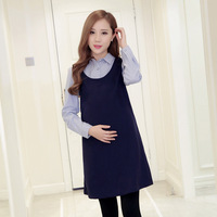 Maternity Dress Fashion New Pattern Lapel Long Sleeve Thickening Increase False Hair Two Paper Long Fund