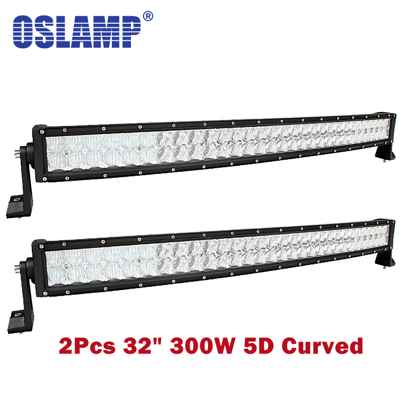 цена на Oslamp 5D Lens 32inch 300W Auto Combo Beam Led Light Bar OffRoad SUV Led Work Light Offroad Driving Led Bar PickUp Boat 4x4 ATV