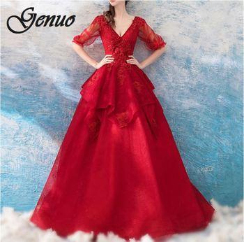 fae7bf80425a Robe Femme Ete 2019 Rouge mujeres Vintage princesa de encaje Floral cóctel  cuello fiesta Aline ...