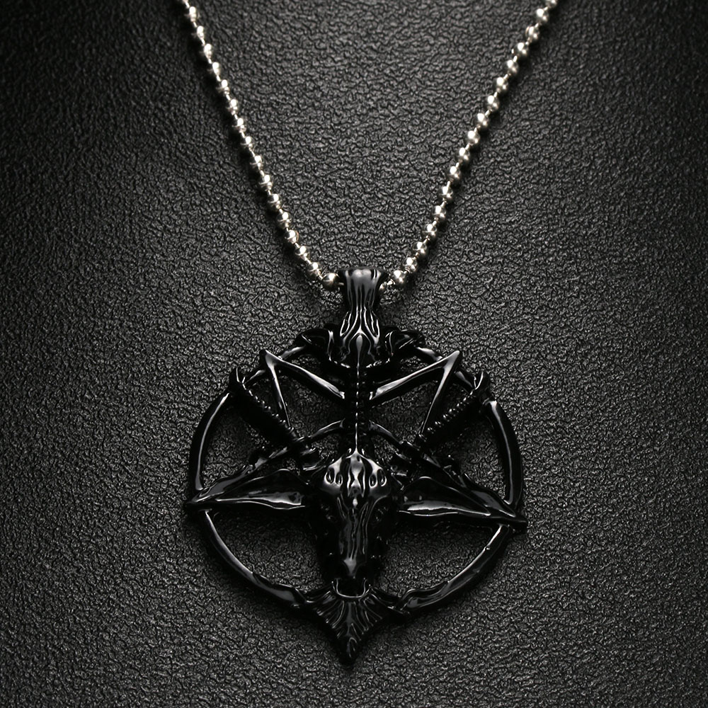 Satanic Goat Necklace Pentagram Skull with Chain