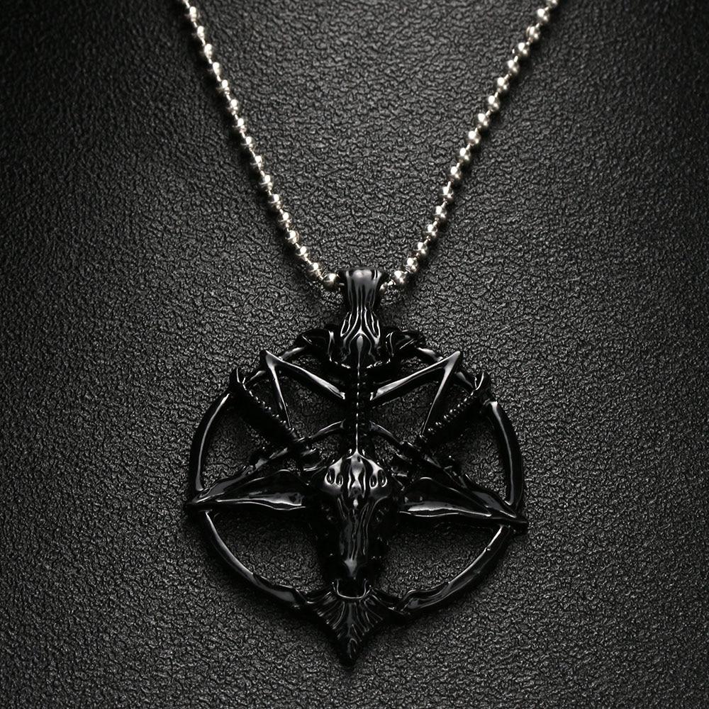 Satanic Goat Necklace Pentagram Skull with Chain