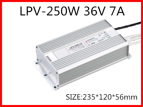 250W 36V 7A LED constant voltage waterproof switching power supply IP67 for led drive LPV-250-36 90w led driver dc40v 2 7a high power led driver for flood light street light ip65 constant current drive power supply