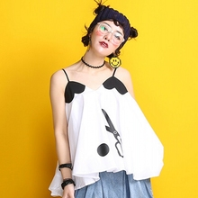 XYJ400 Original Design 2016 scissors and polka dot print loose a line heart shaped patchwork camisole women summer tank top
