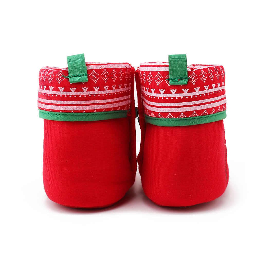 2018 Hàng Mới Về Giáng Sinh Thiết Kế Giày Cho Bé Độc Đáo Ấm Màu Đỏ Và Xanh Lá Cây Màu Bo Bé Gái Bán Buôn Cotton Nguyên Chất Giày