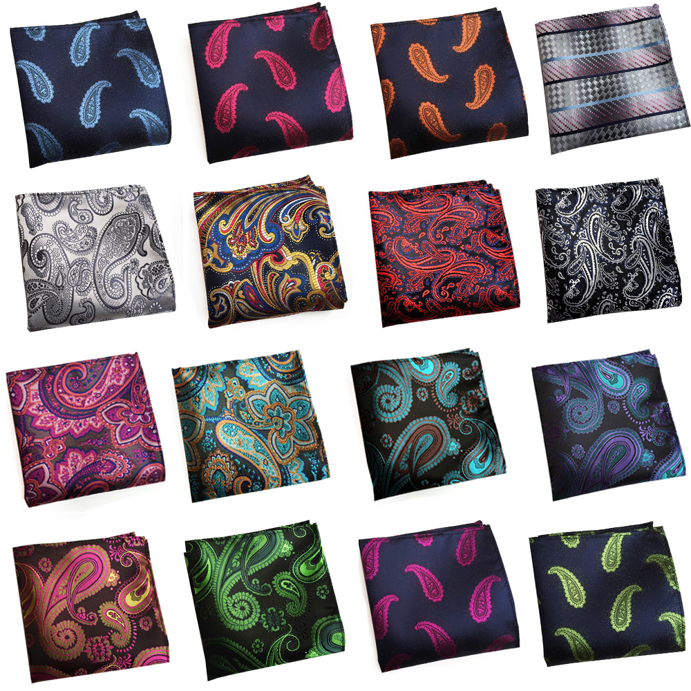 Men Business Colorful Paisley Handkerchief Gentlemen's Suits Hanky Pocket Square HZTIE0316