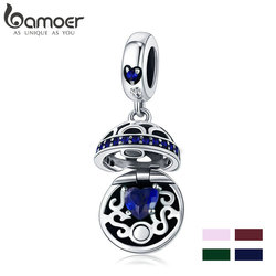 BAMOER 100% 925 Sterling Silver 4 Colors Love Gift Box Dangle Ball Charm Heart Pave Fit Bracelets & Necklaces Jewelry SCC689-G