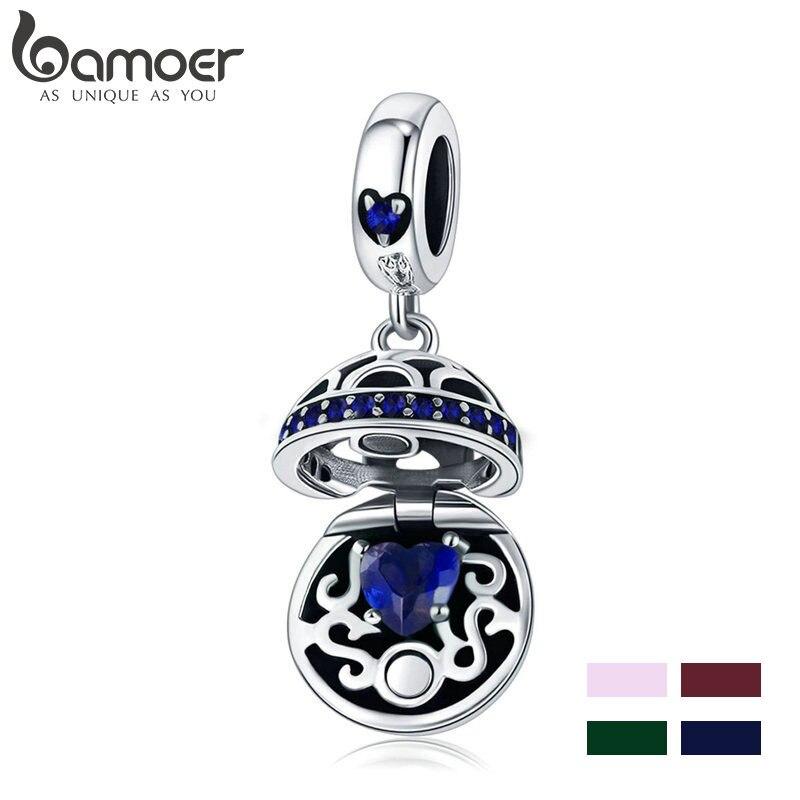 BAMOER 100% 925 Sterling Silver 4 Cores Caixa de Presente Amor Dangle Bola Pave do Encanto do Coração Fit Pulseiras & Colares de Jóias SCC689-G