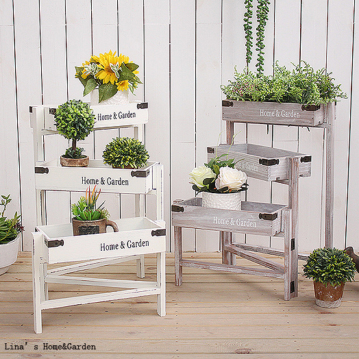 US $42 36  home and garden indoor 3 tier folding small antique wooden plant  stand-in Flower Pots & Planters from Home & Garden on Aliexpress com  