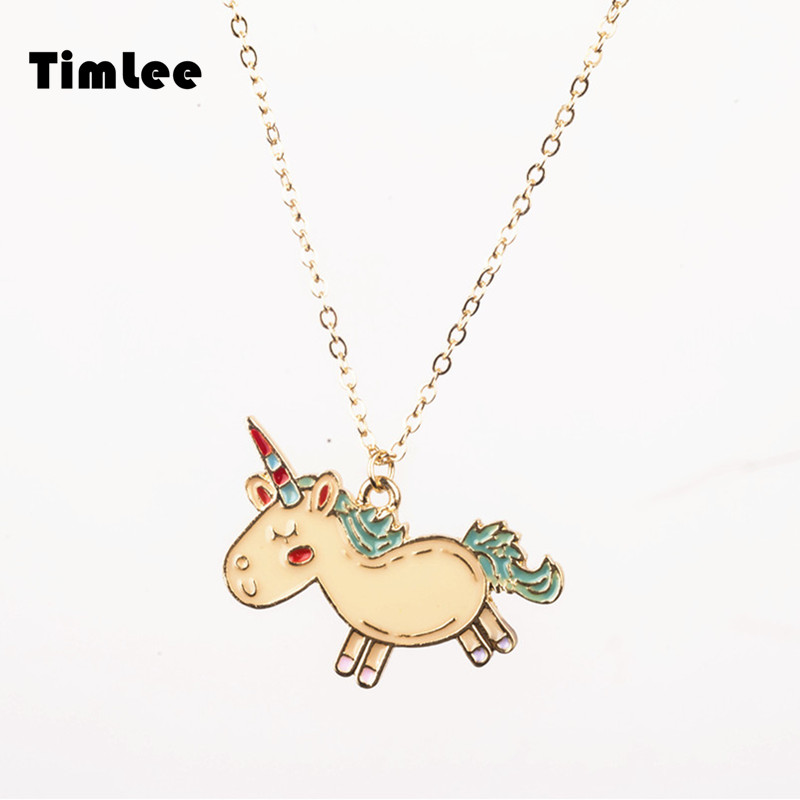 Timlee N056 Free shipping Cartoon Animals Unicorn Cute Neckls