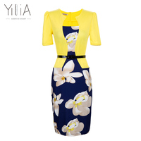 Yilia 2018 Summer New Women One Piece Patchwork Floral Print Elegant Business Party Office Plus Size