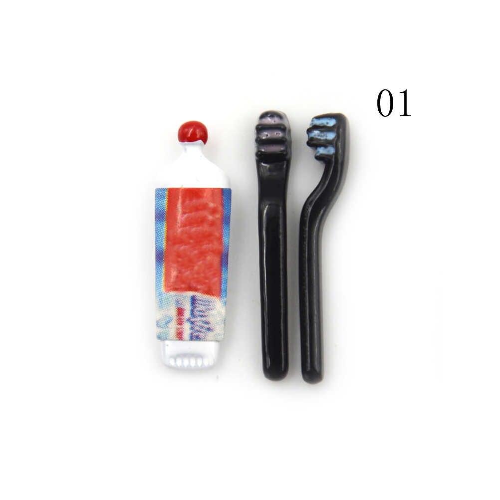 1 zestaw 1:12 Dollhouse miniaturowa Mini pasta do zębów szczoteczka do zębów kuchnia zabawkowe meble prezent kolekcjonerski miniaturowe zabawki