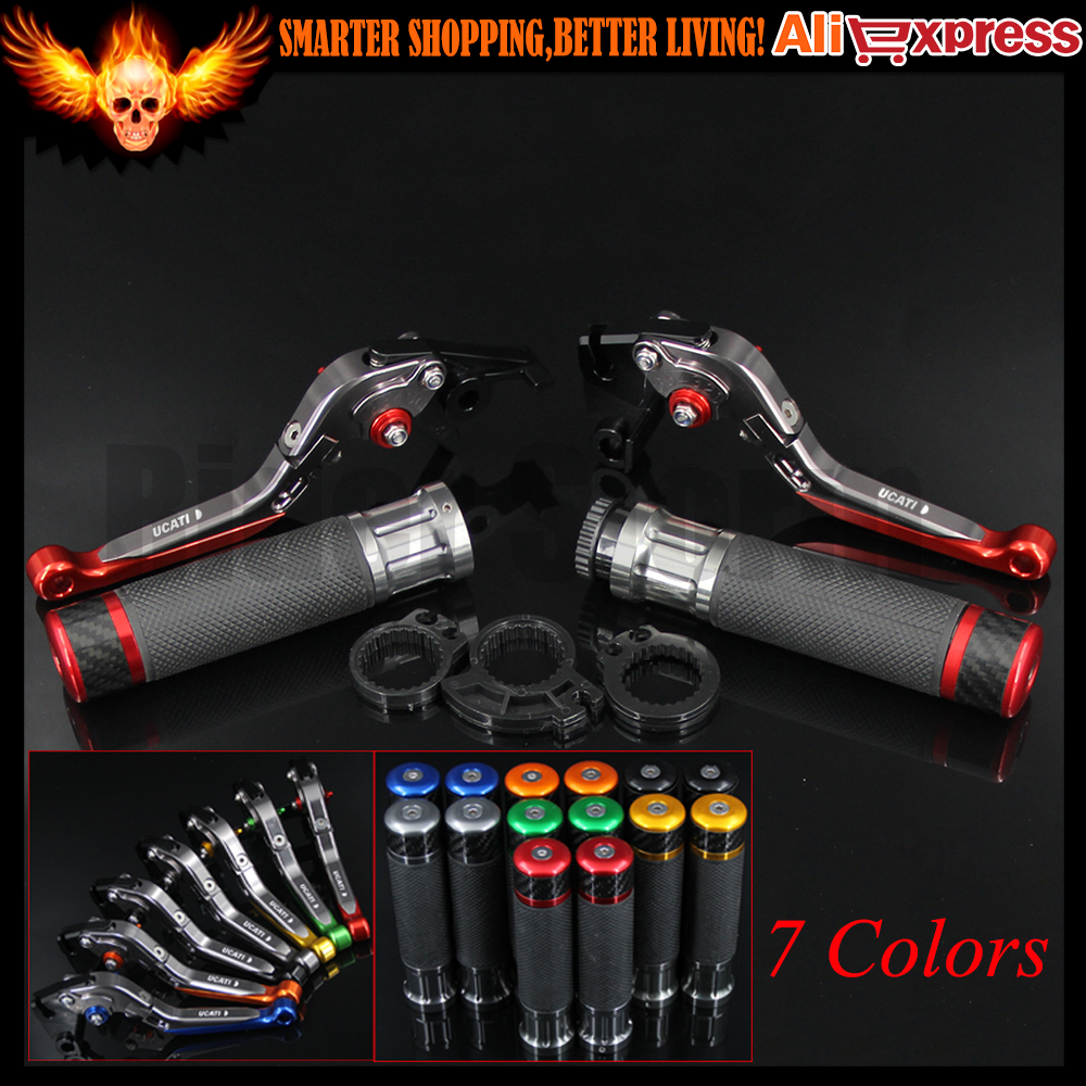 ФОТО 7 Colors Red+Titanium CNC Adjustable Motorcycle Brake Clutch Levers&Handlebar Hand Grips For Ducati Diavel/Carbon/XDiavel/S 2016